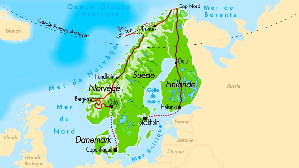Carte Scandinavie